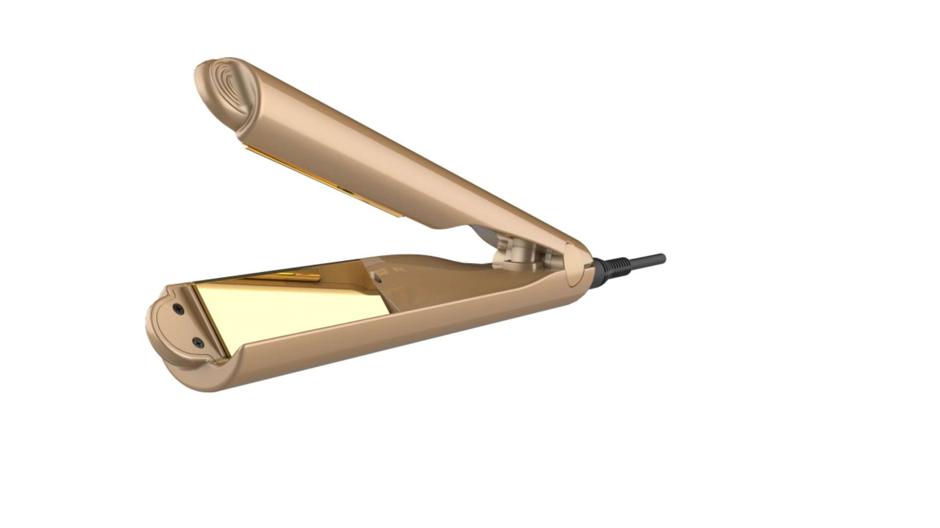 奔杰跨境爆款金色直发器卷发棒直卷两用电夹板直发夹批发