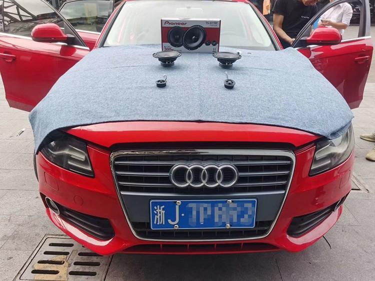 台州慧声改装作业——奥迪A4汽车音响改装日本先锋两分频喇叭