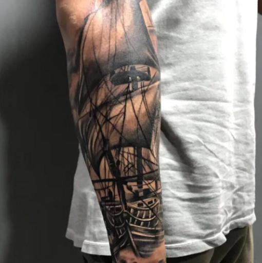 《厦门纹身图案》帆船纹身图片