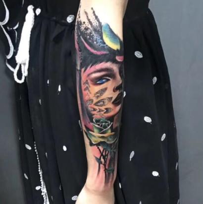 《厦门纹身》小臂欧美纹身